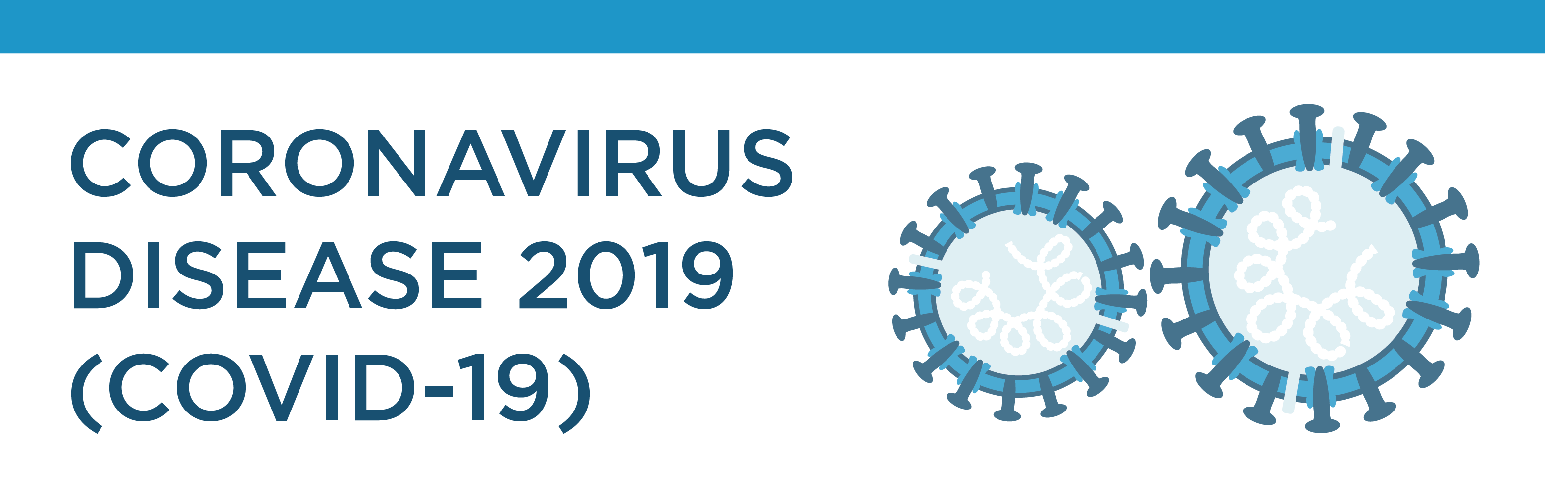 Coronavirus Disease 2019 text with coronavirus illustration